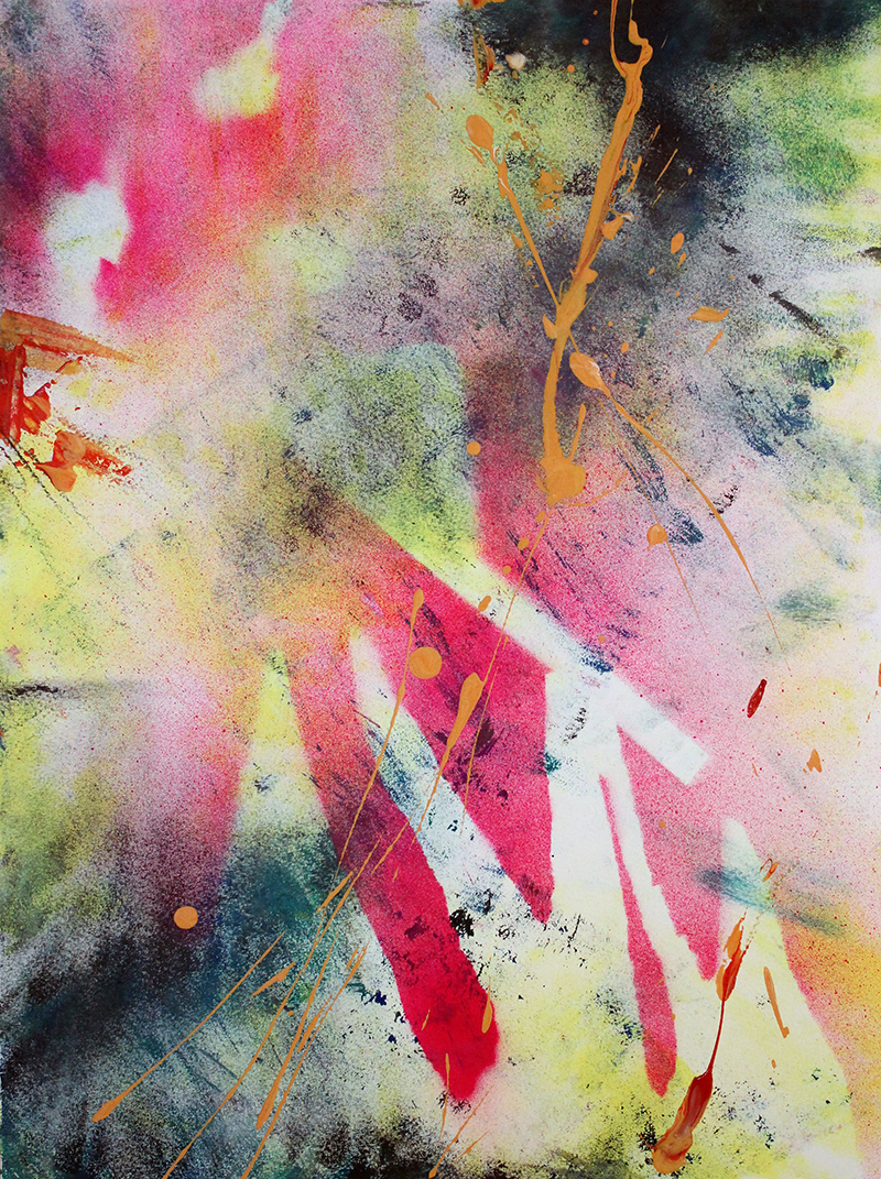 'Fire and Wood' 36x48cms Acrylic & mixed media on paper (framed)