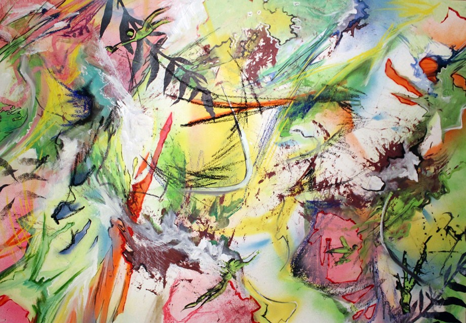 'Fresh After the Rain' 70x100cm Acrylic & mixed media on paper (framed)