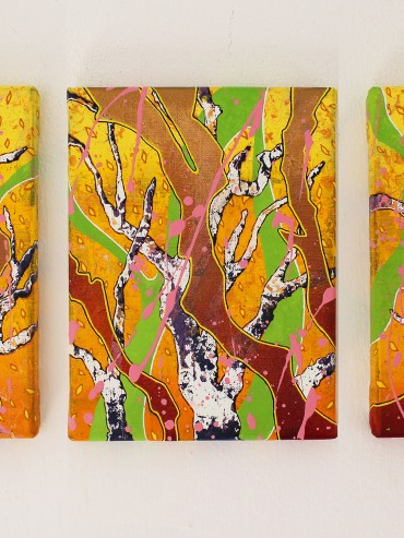 Orange Skies and Purple Trees (Triptych)